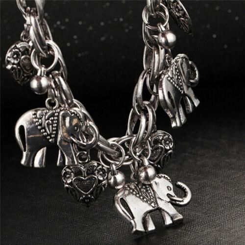 Women Vintage Bracelet Elephant Heart Bead Pendant Bracelets Fashion JewelryNSFJ
