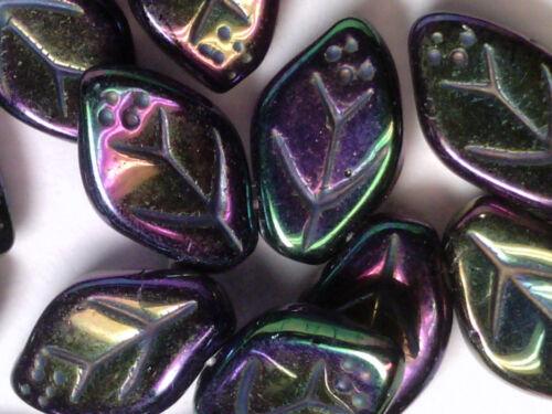 VTG 50 PURPLE IRIS IRIDESCENT GLASS VEINED LEAVES PRESSED BEAD #110618n 12X7mm