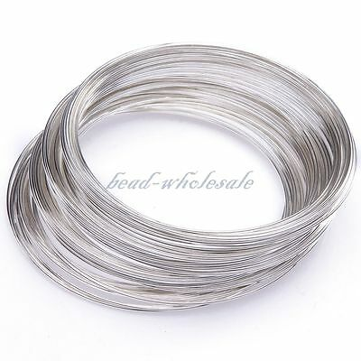 New Bangle Bracelet Round Wire 100/300pcs Silver loop memory wire High Quality