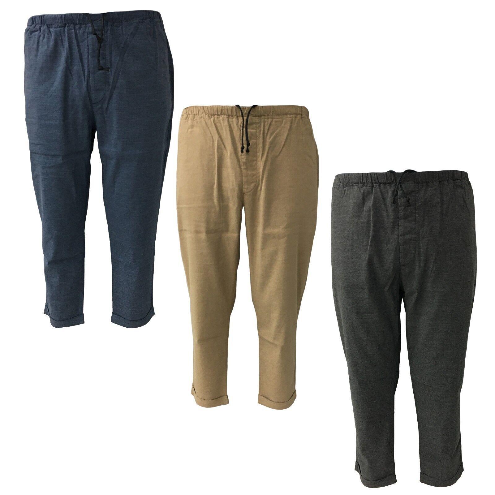 BKØ linea MADSON pantalone uomo uomo uomo lino con elastico mod DU18065 MADE IN ITALY ab4f92