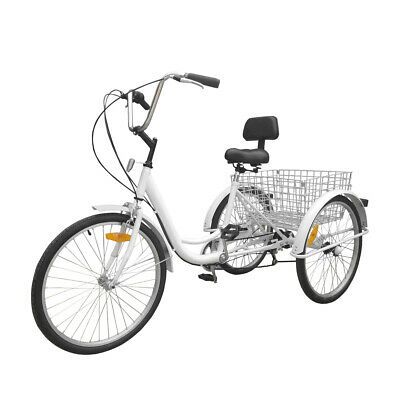 """Black 3-Wheel 6-Speed Adult 24/"""" Tricycle Bike Bicycle Trike Cruise W// Basket"""