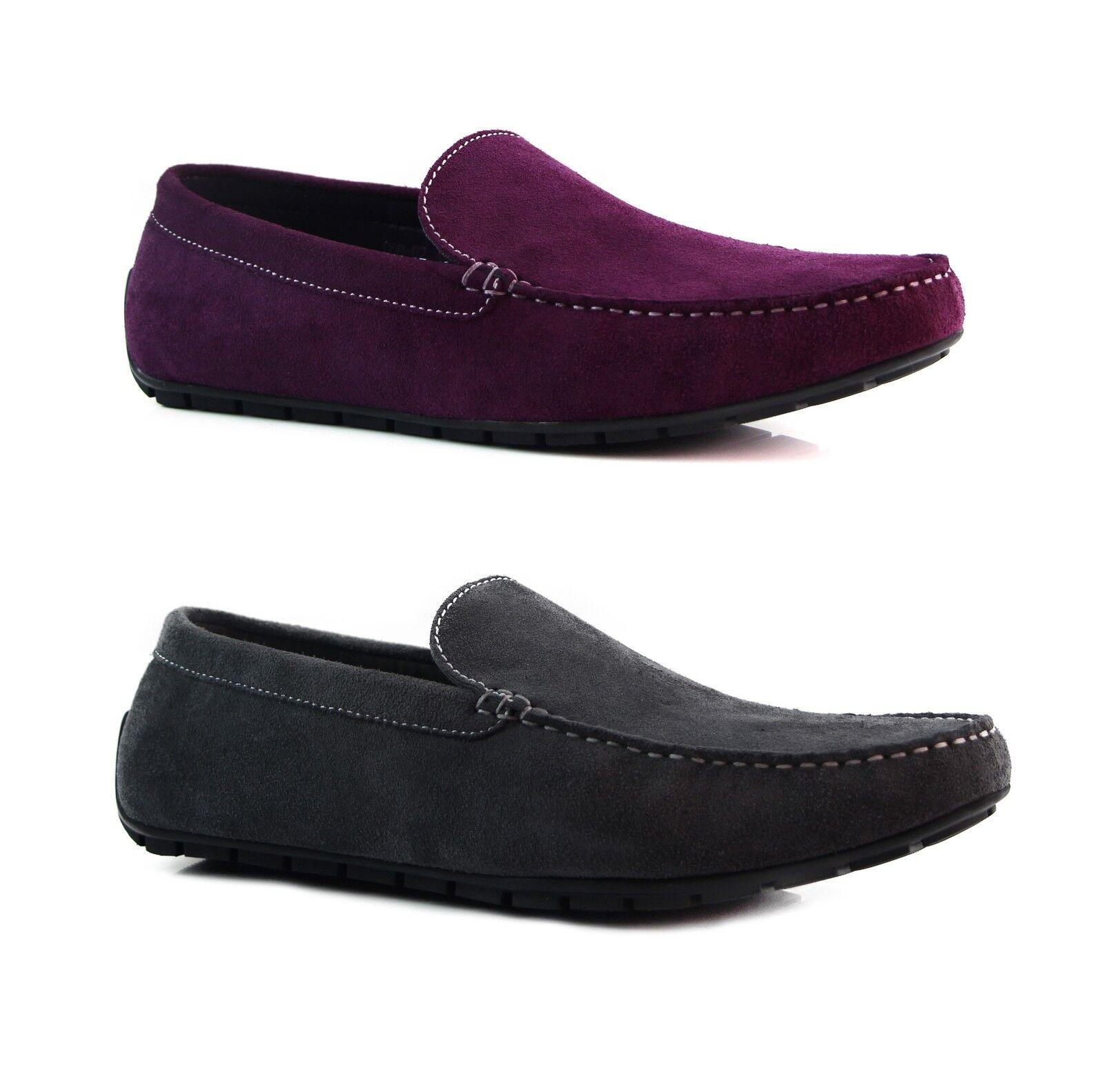 DARK GREY / PURPLE ZASEL  Herren SUEDE LEATHER CASUAL Schuhe PLAIN BOAT DECK LOAFERS Schuhe CASUAL d2e7e7