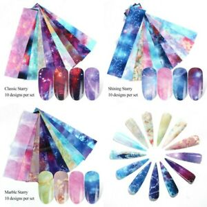 10-Nail-Foils-Transfer-Stickers-Decals-Holographic-Flower-Nail-Art-Starry-Paper