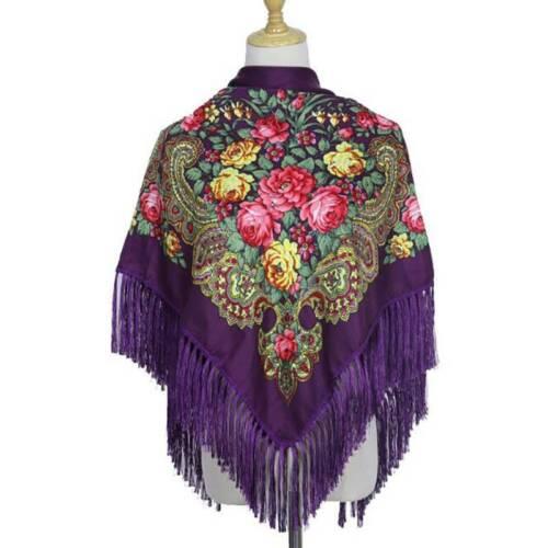 Vintage Women/'s Tassel Shawl Long Tassel Cotton Scarf Headband Floral Printed C