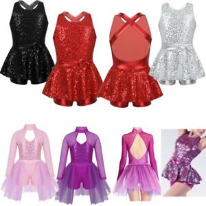 Girl Modern Ballet Jazz Leotard Dress Shiny Metallic Ballerina Dancewear Costume
