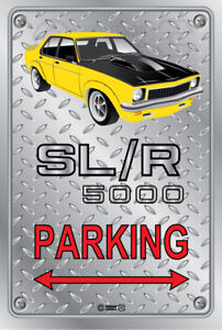 Parking-Sign-Metal-Holden-Torana-SLR-5000-YELLOW-ORIGINAL-RIMS