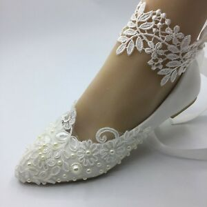 255e58efae Details about Handmade Flat shoes White Lace Pearls Women Wedding Shoes US  5-9.5