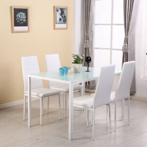 White Dining Table Set And 4 Leather Chairs Seats Glass Top Kitchen