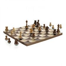 Umbra Wobble Chess Set Wooden Curvy Modern Collectors Gift  Intl. Design Award