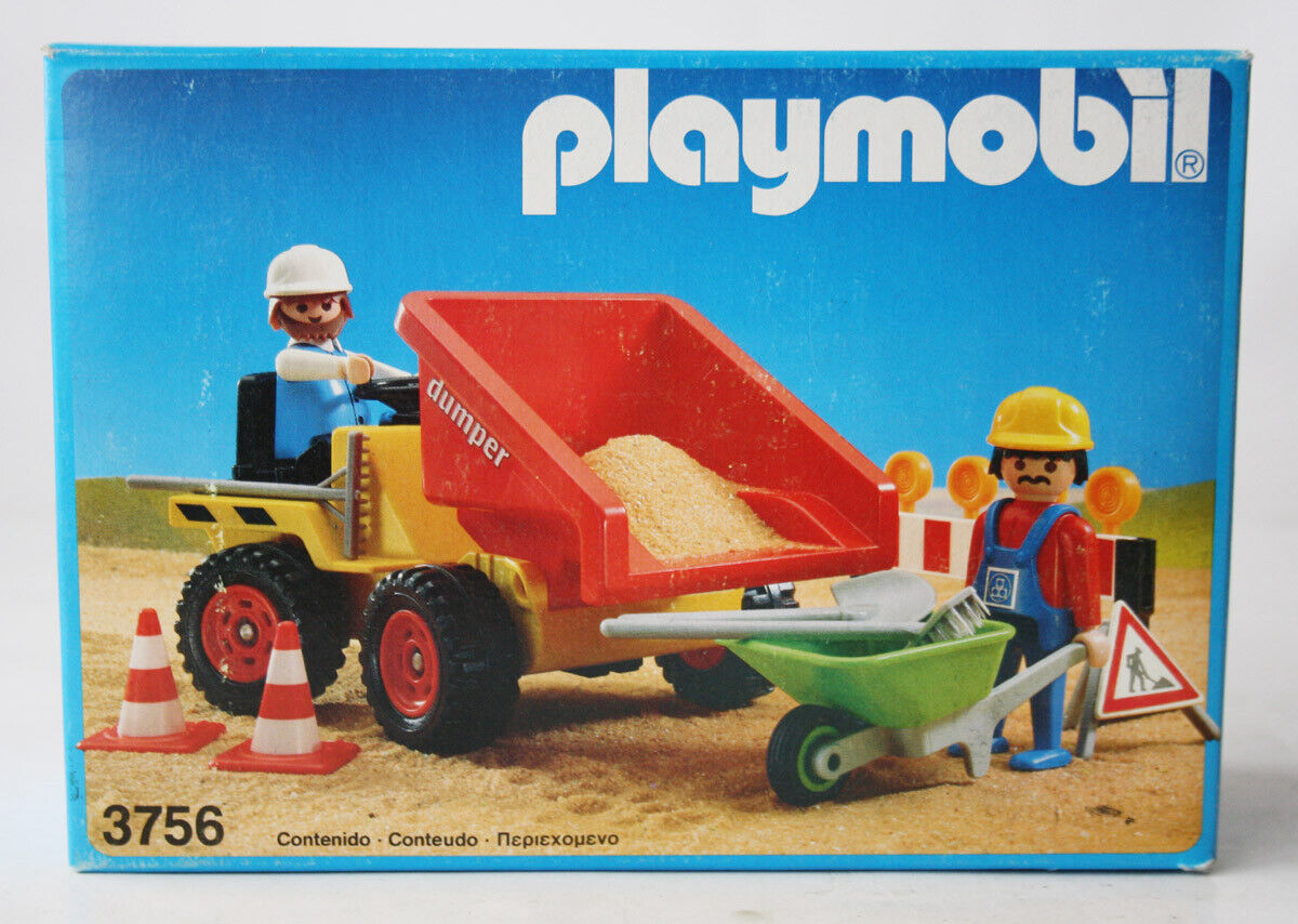 RARE VINTAGE 1990 PLAYMOBIL 3756 DUMPER CONSTRUCTION WORKERS SPAIN NEW