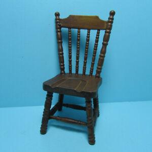 Dollhouse Miniature Wood Kitchen Dining Room Chair Black and Walnut CLA10472