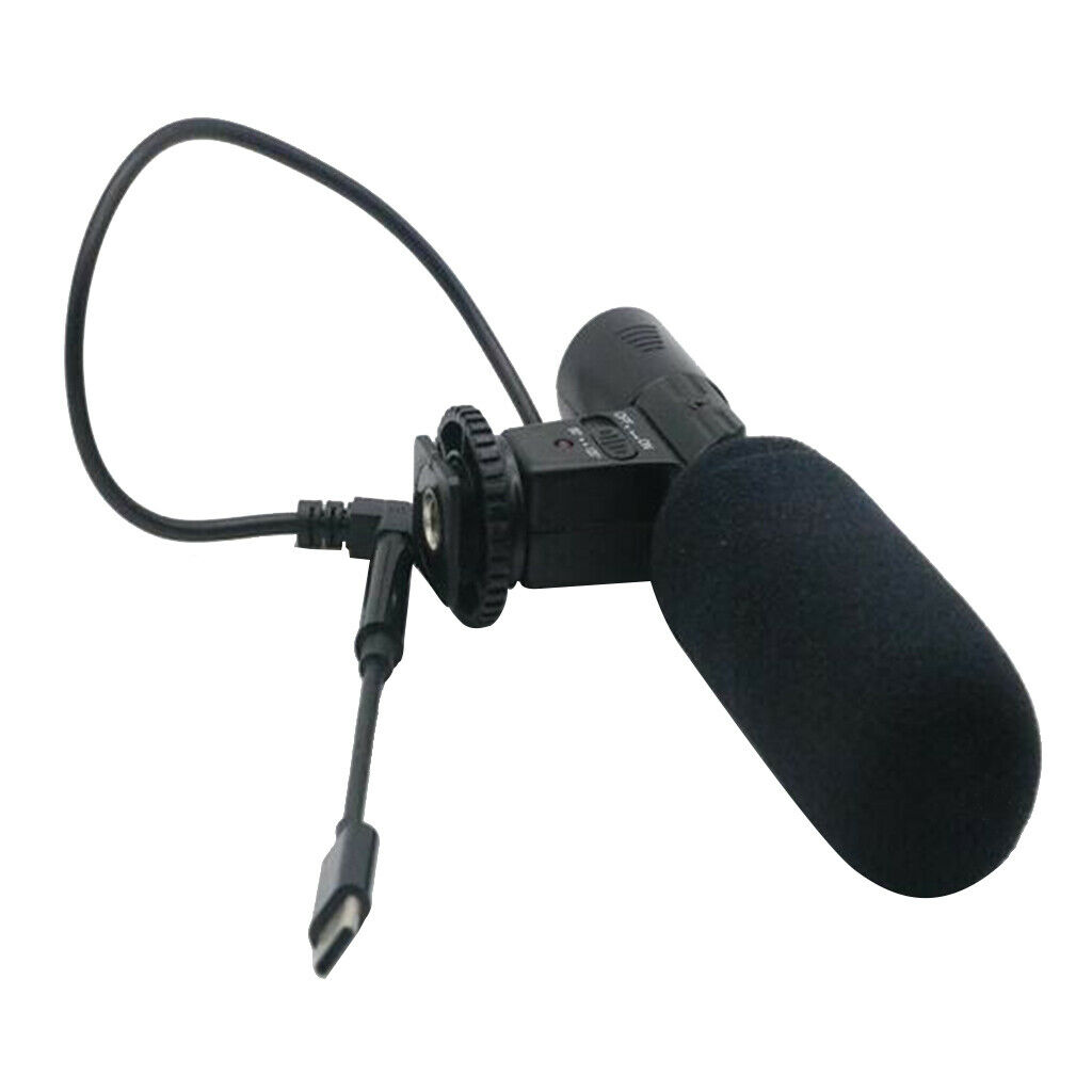 Camera Condenser Microphone with 3.5mm Type-C Adapter Cable for DV Recording