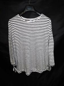 Old-Navy-XXL-2X-White-Black-Stripe-T-Shirt-Tie-Cuff-Long-Sleeve-Tee-Womens-Knit