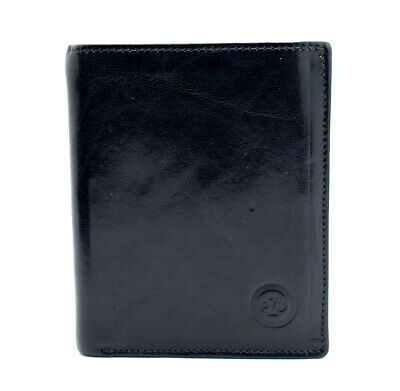 Pzu Mens Bifold Leather Wallet Black Blue Guter Geschmack