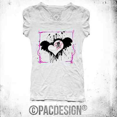 T-SHIRT DONNA TATTOO OLD SCHOOL EMO CHIC SKULL LOVE WHY SO VINTAGE NE0095A
