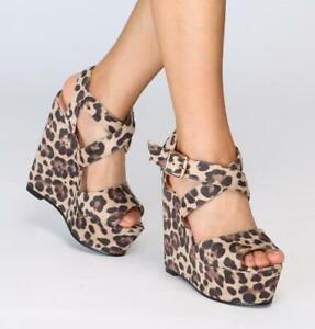 Womens-Leopard-Wedge-High-Heel-Platform-Open-Toe-Chic-Slingbacks-Sandals-Shoes