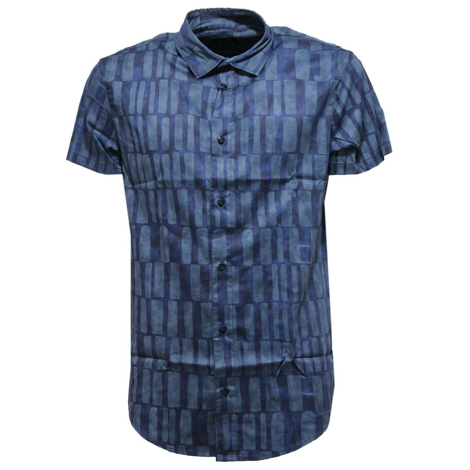 0294U camicia uomo slim fit  ARMANI JEANS blu shirt short sleeve cotton men