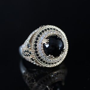 925-Sterling-Silver-Handmade-Authentic-Turkish-Onyx-Ladies-Ring-Size-7-9