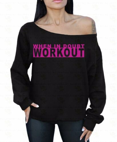 When In Doubt Workout Off the shoulder oversized slouchy sweater sweatshirt Gym