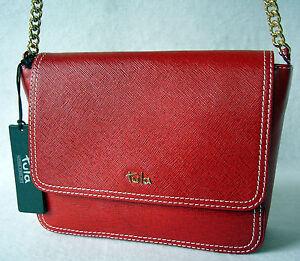 Image Is Loading Tula Saffiano Originals Shoulder Crossbody Bag Red Leather