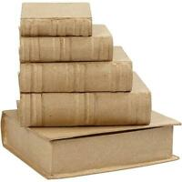 5 x Book Shaped Boxes Craft Hidden Storage Brown Paper Mache Decorate Hand Made