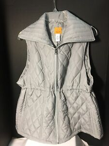 Ruby-Rd-Quilted-Polyester-Vest-Womens-Sz-PXL-Gray-Zip-Up-Cinch-Waist