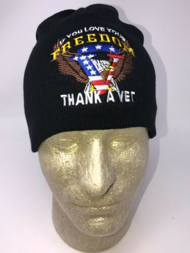 Embroidered If You Love Your Freedom Thank A Vet Eagle Beanie Stocking Cap Hat