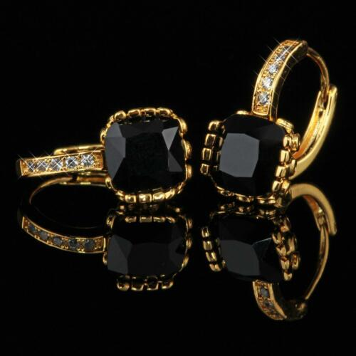 Luxus Ohrringe Creolen Zirkonia Schwarz 999er Gold 24K vergoldet O1629S