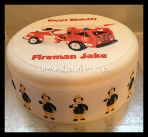 Fire Engine 02 pre-cut Edible Icing Cake Topper or Ribbon