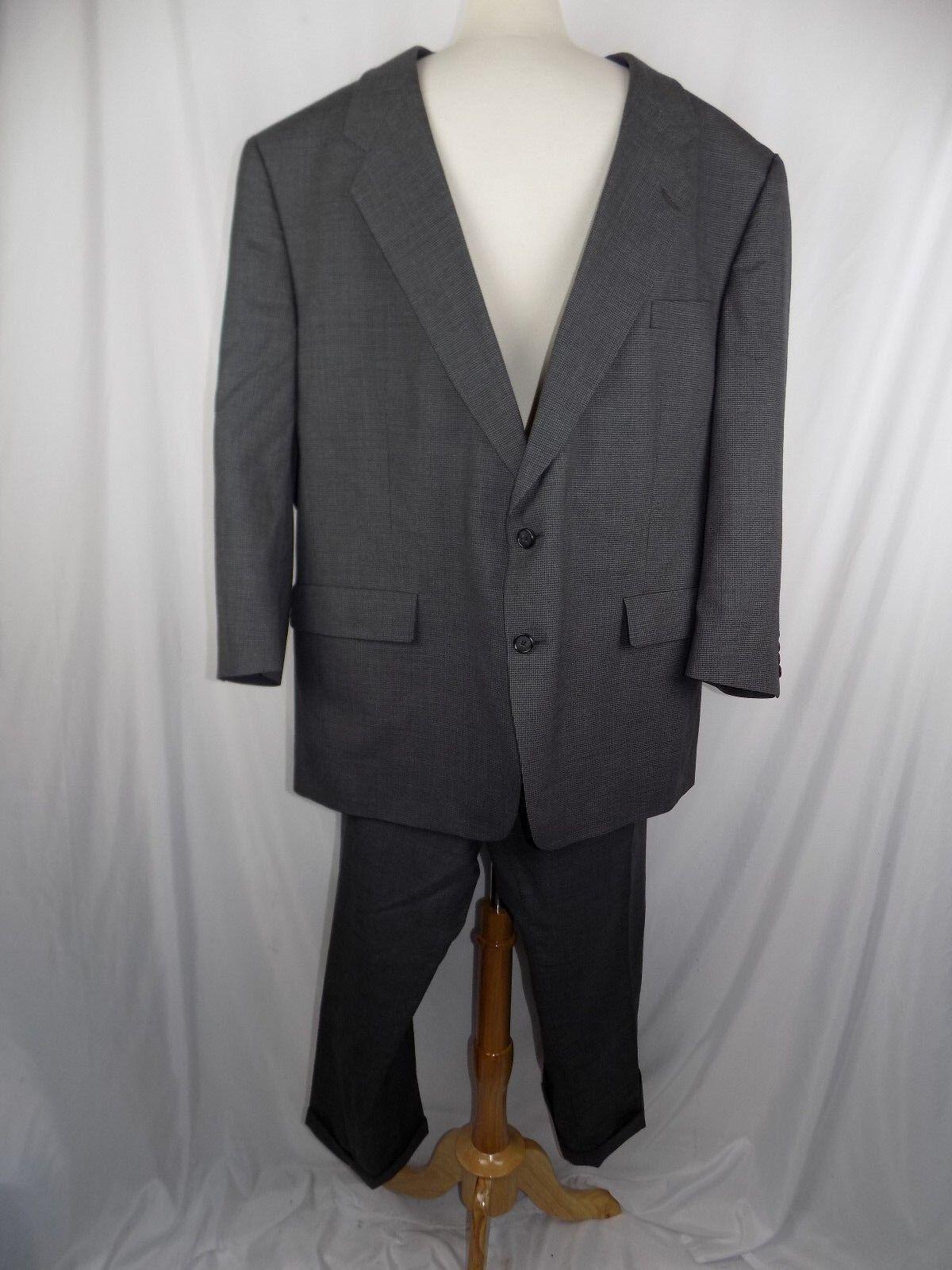 Hart Schaffner Marx 53 R Suit grau Pinstripe Wool USA 2 Button  Herren 46 x 28