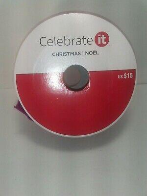 Celebrate It Christmas Ribbon Wired Burgundy Velvet 2 1//2 in x 5 Yd New