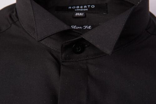 BLACK SLIM FIT SHIRT WING COLLAR WEDDING TUXEDO DRESS FORMAL