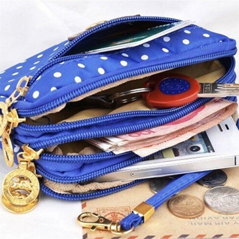 3 Layer Purse Canvas Phone Bag Womens Short Wallet Zipper Card Key Purse Storage