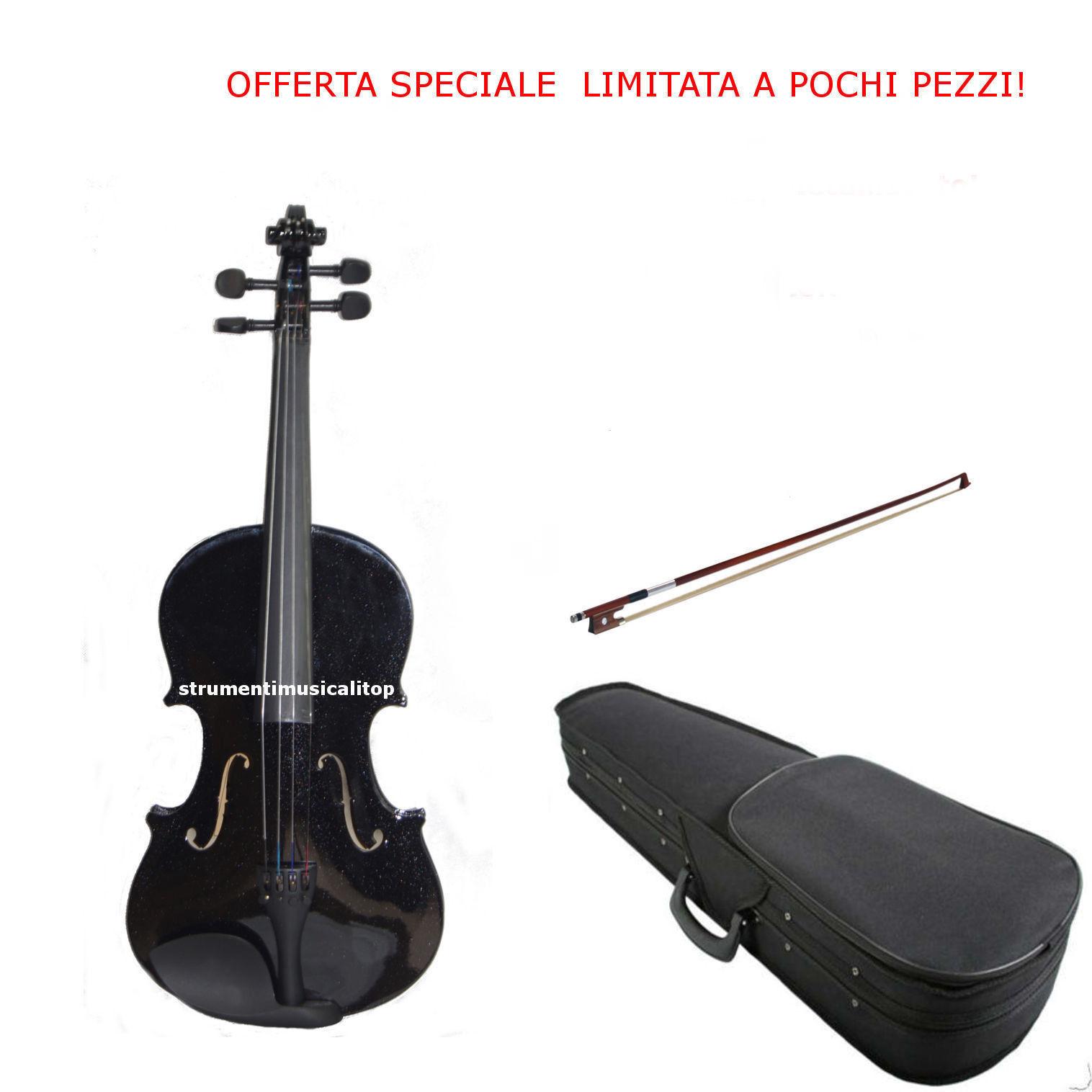 connotazione di lusso low-key Violino 4 4 colore Nero con Astuccio, Archetto Archetto Archetto e Colofonia  in vendita online
