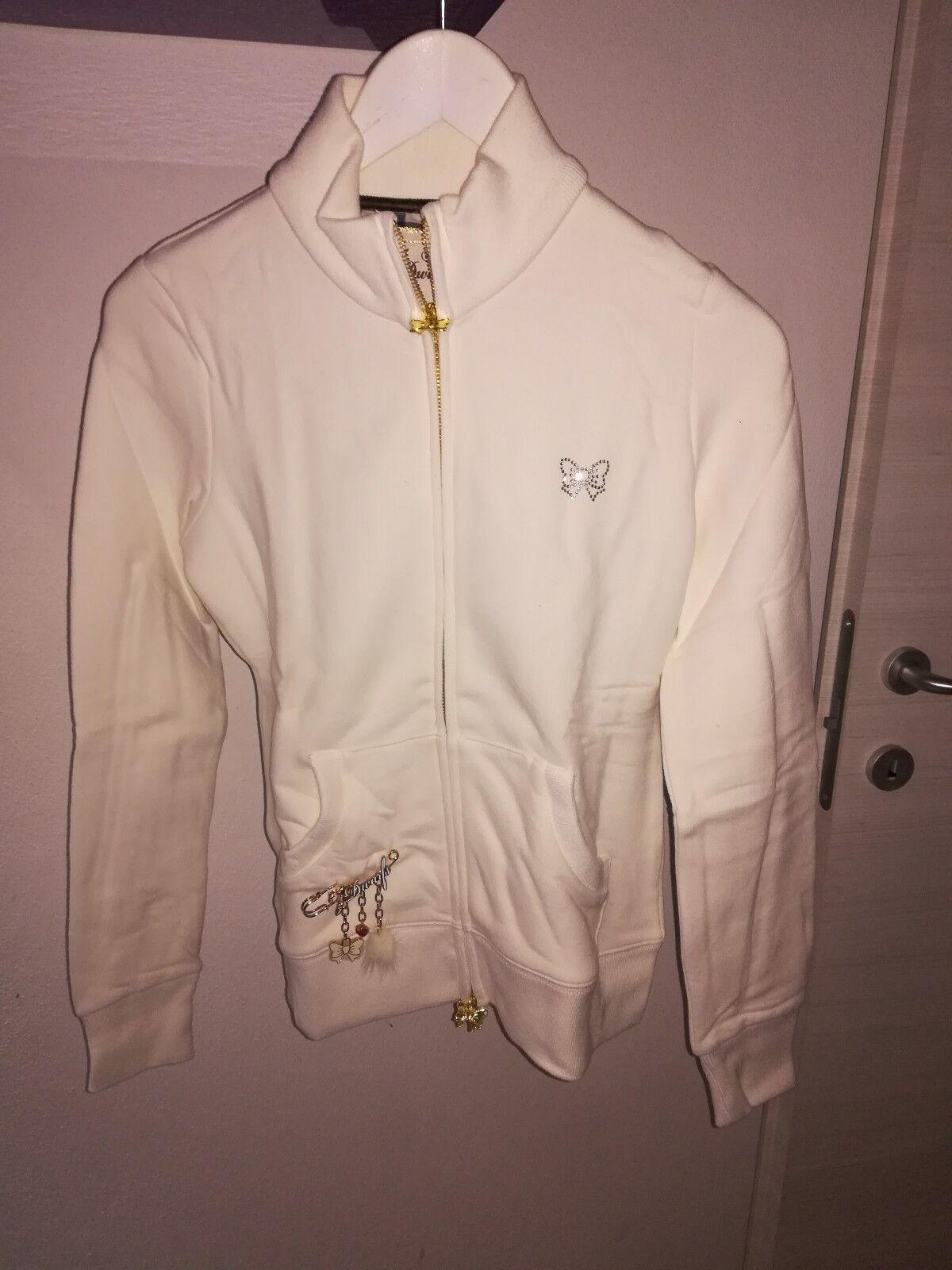 FIX DESIGN Felpa women 7 Nani Mammolo color Bianco TG S Zip Strass