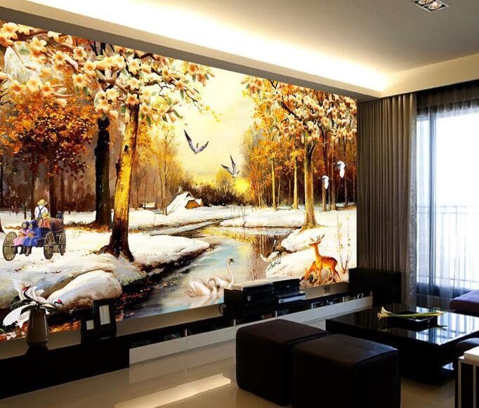 3D Winter Schneelandschaft 72 Tapete Wandgemälde Tapete Tapeten Bild Familie DE