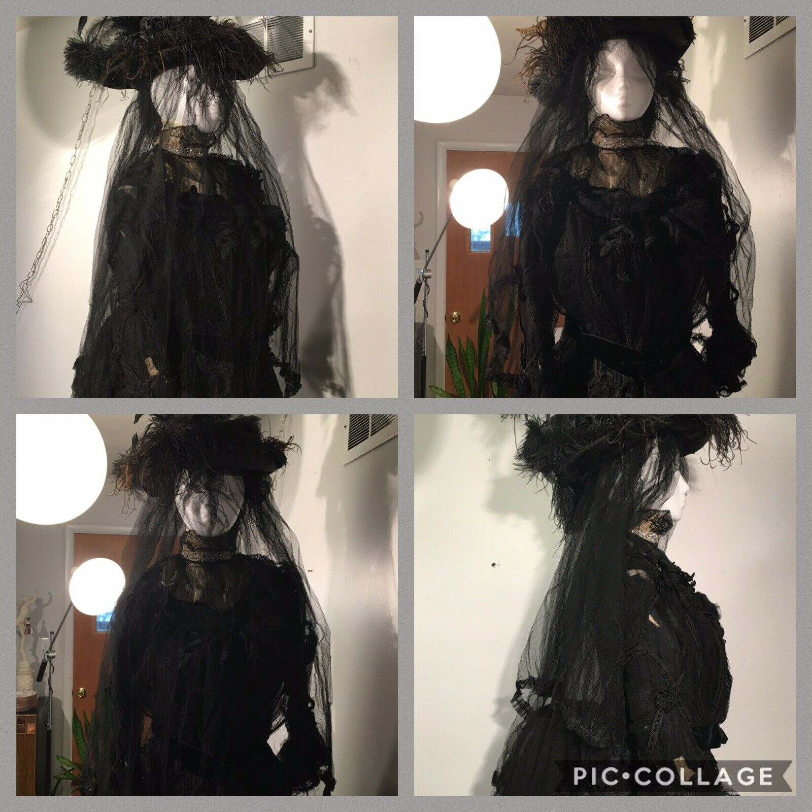 ANTIQUE 19th Victorian LACE MOURNING BUSTLE DRESS… - image 6