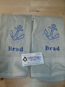 Nautical Anchor Sketch Personalized Dish Kitchen Hand Towels Ebay