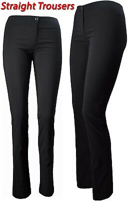 Girls Women skinny stretch straight trousers invisible zip office school black