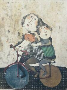 Vintage Signed GRACIELA RODO BOULANGER Girls on Bicycle Lithograph Art Print