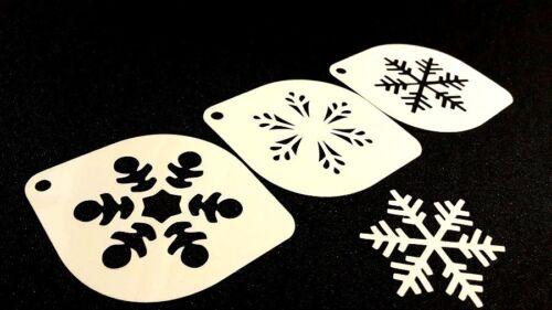 #6.2 Set of 3pcs Xmas Stencils Snowflake Christmas Card Cupcake Decoration Craft