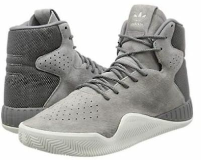 S80084 Mens Adidas Tubular Instinct Gray Suede High Top Sneakers *NEW*