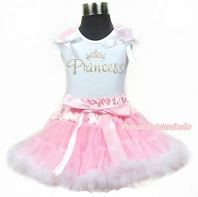 Rhinestone Crown White Shirt Dusty Pink Girl Pettiskirt Clothing Set 1-8y
