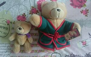 Two-FOREVER-FRIENDS-BEARS-10-034-with-Green-Dressing-Gown-7-034-with-Bow-bought-1996