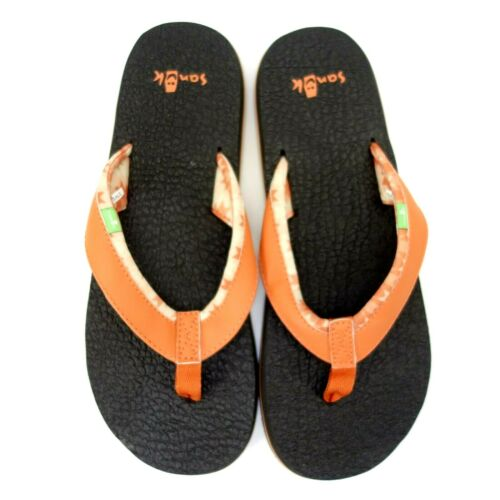 New Sanuk Yoga Mat Flip Flops Thong Orange Active Sandals Shoes US 7 EU 38