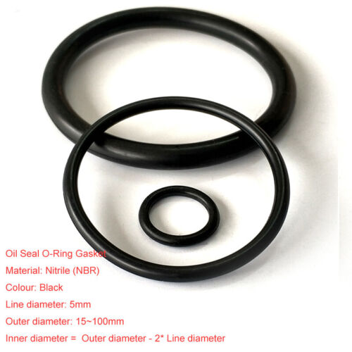 OD=15~100mm NBR Nitrile O-Ring Gasket Seals Rubber Oil Sealing Washers Ø5mm