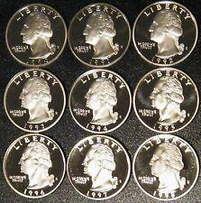 1990-1998 S Washington Quarter Gem Deep Cameo Proof Run 9 Coin Set US Mint Lot