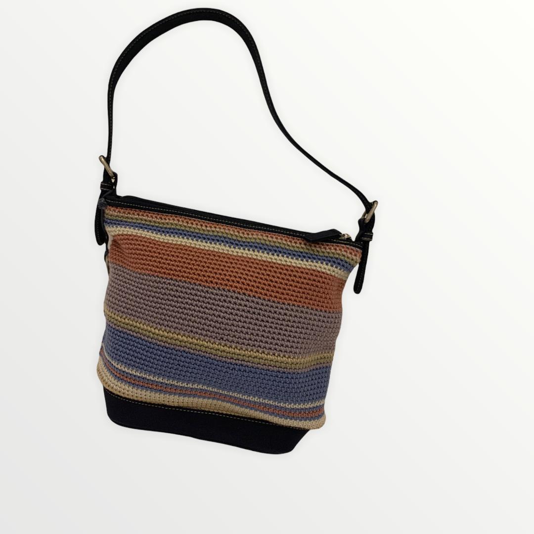 The Sak Stripes Knit Crochet Tote Shoulder Bag Purse Handbag Fall Beige Blue