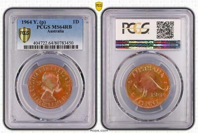 1964y.(p) Australia 1 Penny Bu Uncirculated Pcgs Ms64rb Toned Coin In High Grade Good Reputation Over The World