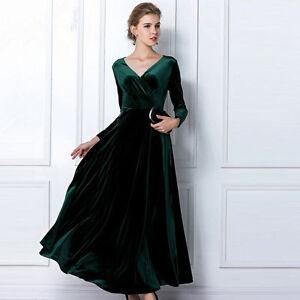 c33b63d5dda83 Details about Emerald Green Long Velvet Party Formal Evening Maxi Dress  Gown incl Plus sizes